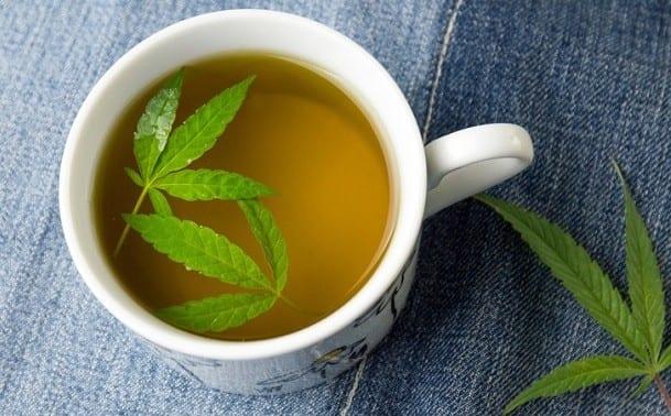 Marijuana Herbal Tea And Cannabis Leaves