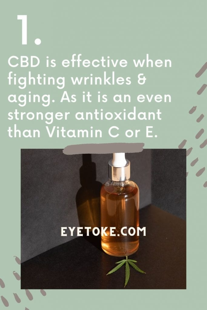 CBD is effective when fighting wrinkles and aging. As it is an even stronger antioxidant than Vitamin C or E.